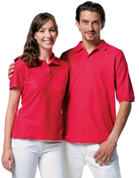 Couple in red polo shirts